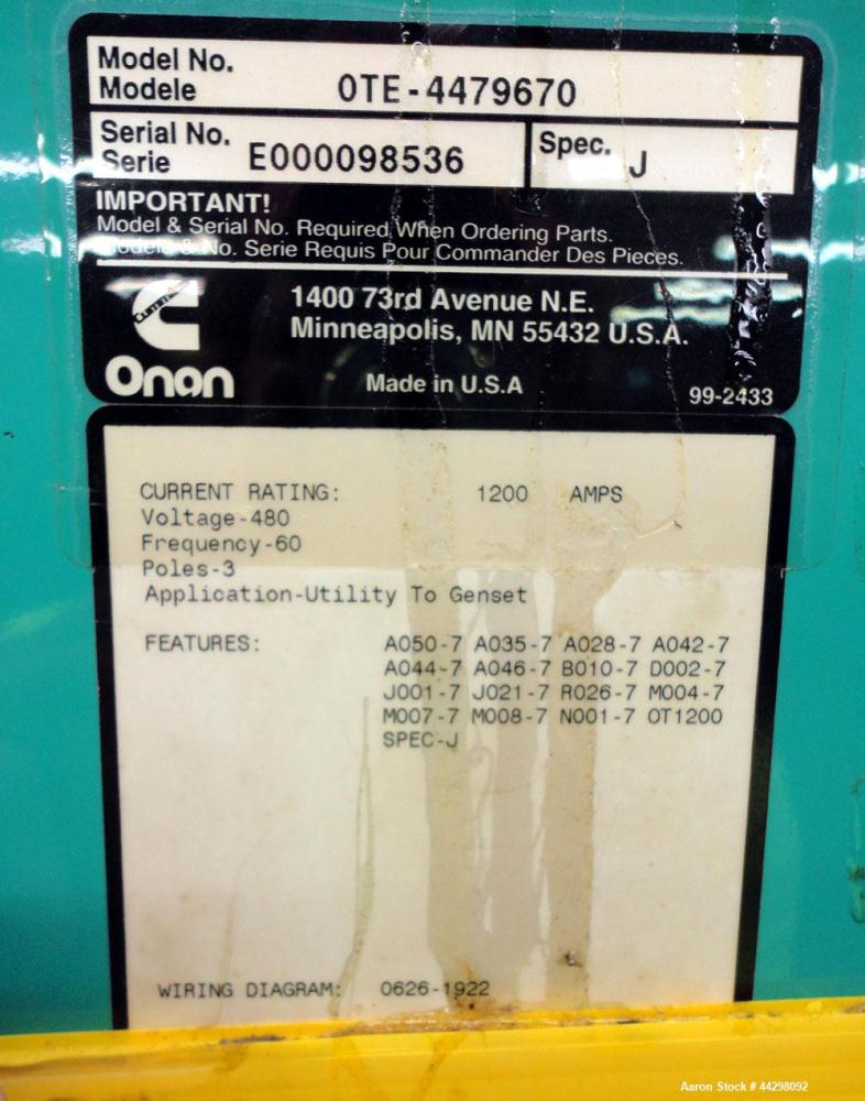 Used- Cummins / Onan 1200 Amp Automatic Transfer Switch, model OTE-4479670, serial #E000098536. 3/60/480V. Type 1 enclosure.
