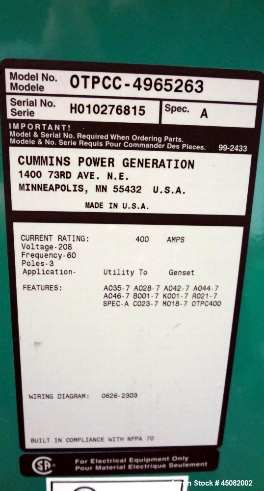 Used- Cummins/Onan 400 Amp Power Command Transfer Switch, model OTPCC-4965263, serial# H010276815, 3-pole, 3/60/208 volts