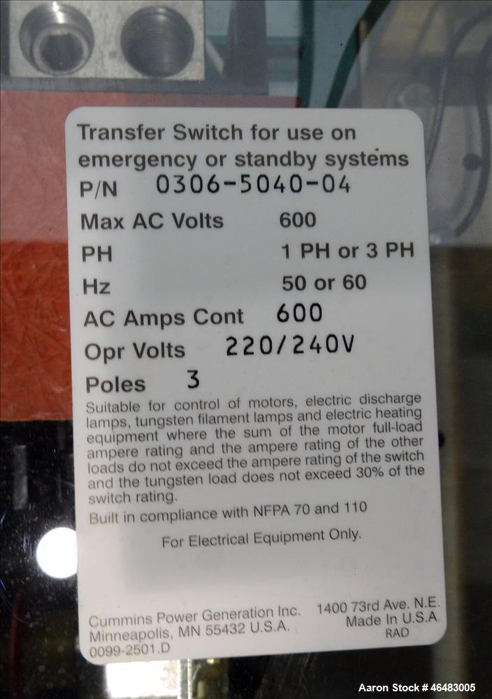 Used- Cummins 600 Amp service entrance rated ATS automatic transfer switch
