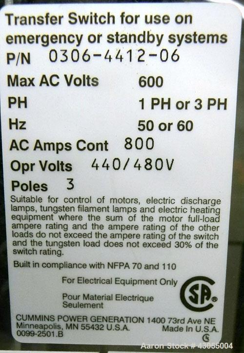 Used- Cummins Power Command Automatic Transfer Switch, 800 Amp, model OTPCD-5707325, SN-B050748000. 3 pole, nema 1, 3/60/480...
