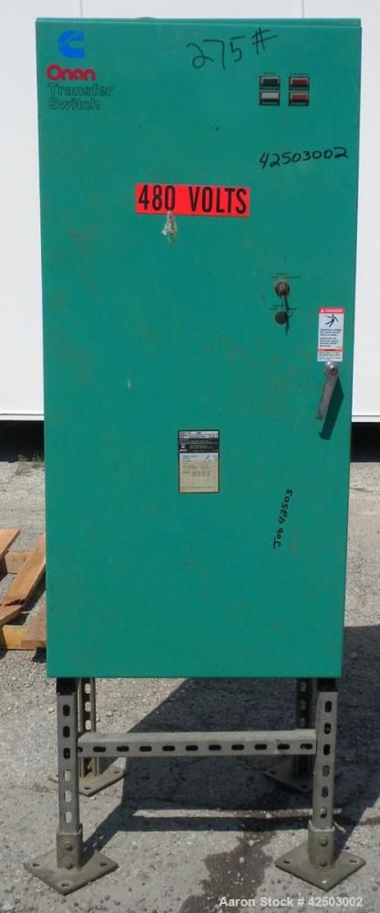Used- Cummins/Onan Transfer Switch, Model OT 300, 300 Amp. Rated 3/60/480 volt. Includes a 2 amp, 12/24 volt battery charger...