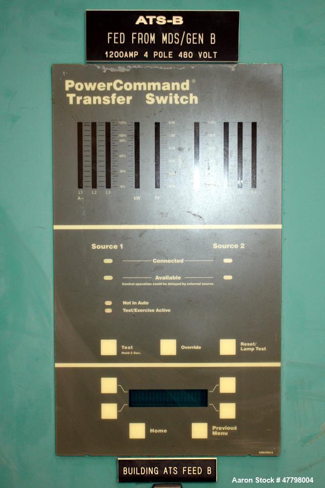 Used- Cummins Power Generation 1200 Amp Transfer Switch, Model OTPCE-5935316. 480 Volt. UL Listed, type 3R Rainproof enclosu...
