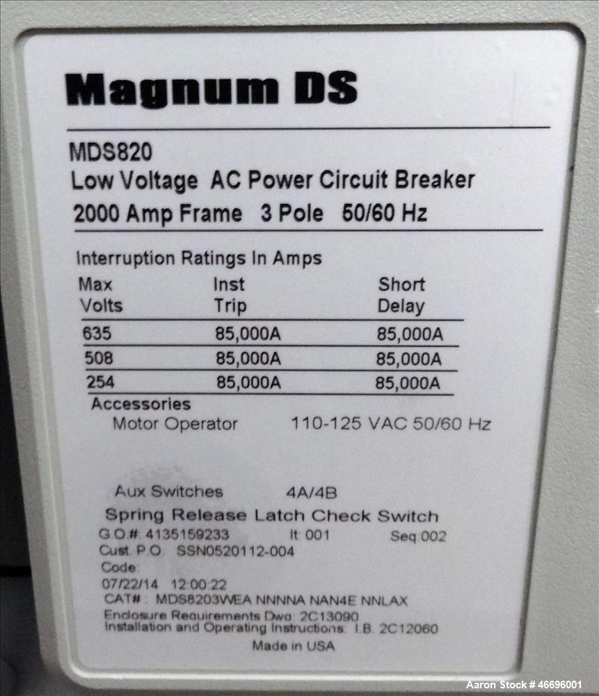 Unused- Cutler Hammer Magnum Drawout 2000 Amp service entrance ATS automatic tra