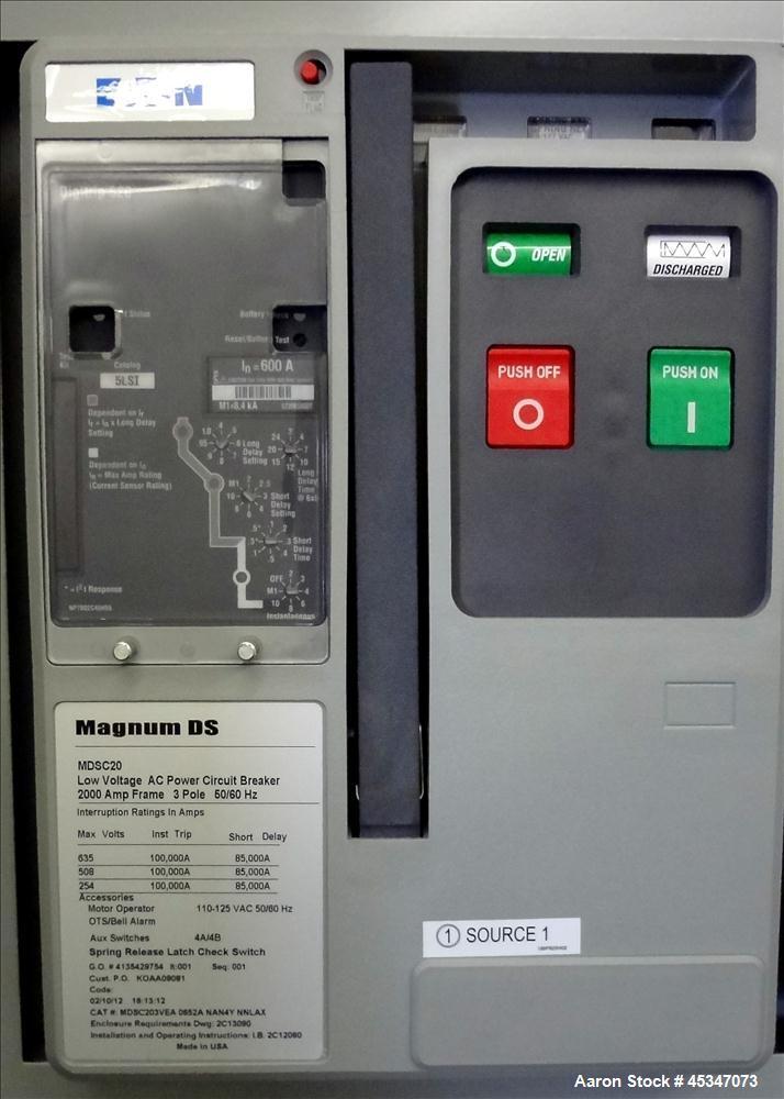 Used- Eaton 600 Amp Automatic Transfer Switch, Catalog# ATVIMGB30600XSU. 3 Phase 120-600V, 3 pole, Magnum DS 600 amp circuit...