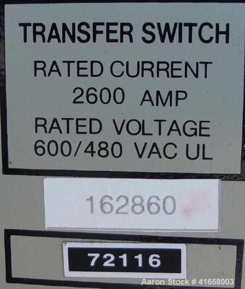Used- Generac 2600 Amp Automatic Transfer Switch, Model 1659760100. Outdoor enclosure, rated 600/480 Volt.