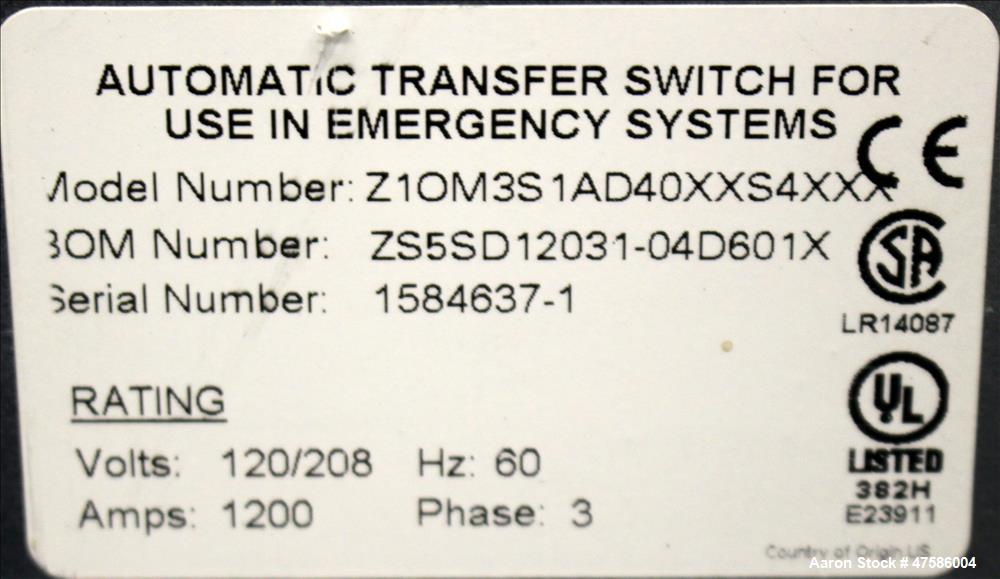 Used- GE ATS Automatic Transfer Switch, Model Z1OM3S1AD40XXS4XXX. 1200 Amp. 3/60/120/208 Volt. GE multilin MX350 auto transf...