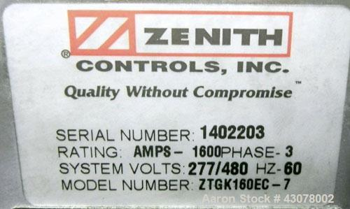 Used- GE Zenith Controls 1600 Amp Transfer Switch, Model ZTGK160EC-7.  3/60/277/480 volt.