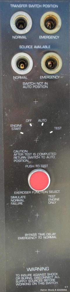 Used- Kohler Automatic Transfer Switch, model K-166343-225. 225 Amp, 3/60/480 Volt.