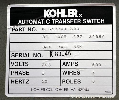 Used- Kohler Automatic Transfer Switch, Part# K-568341-600. 600 Amps, 3/60/208 volt.