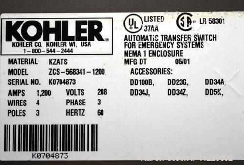 Used- Kohler 1200 Amp Automatic Tranfer Switch. Model ZCS-568341-1200. 3/60/208 Volts, Nema 1 enclosure.