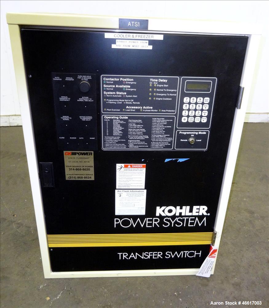 Used- Kohler Automatic Transfer Switch, Part# K-566341-104, 104 Amp. 3/60/480 Volt. Serial# K88038.