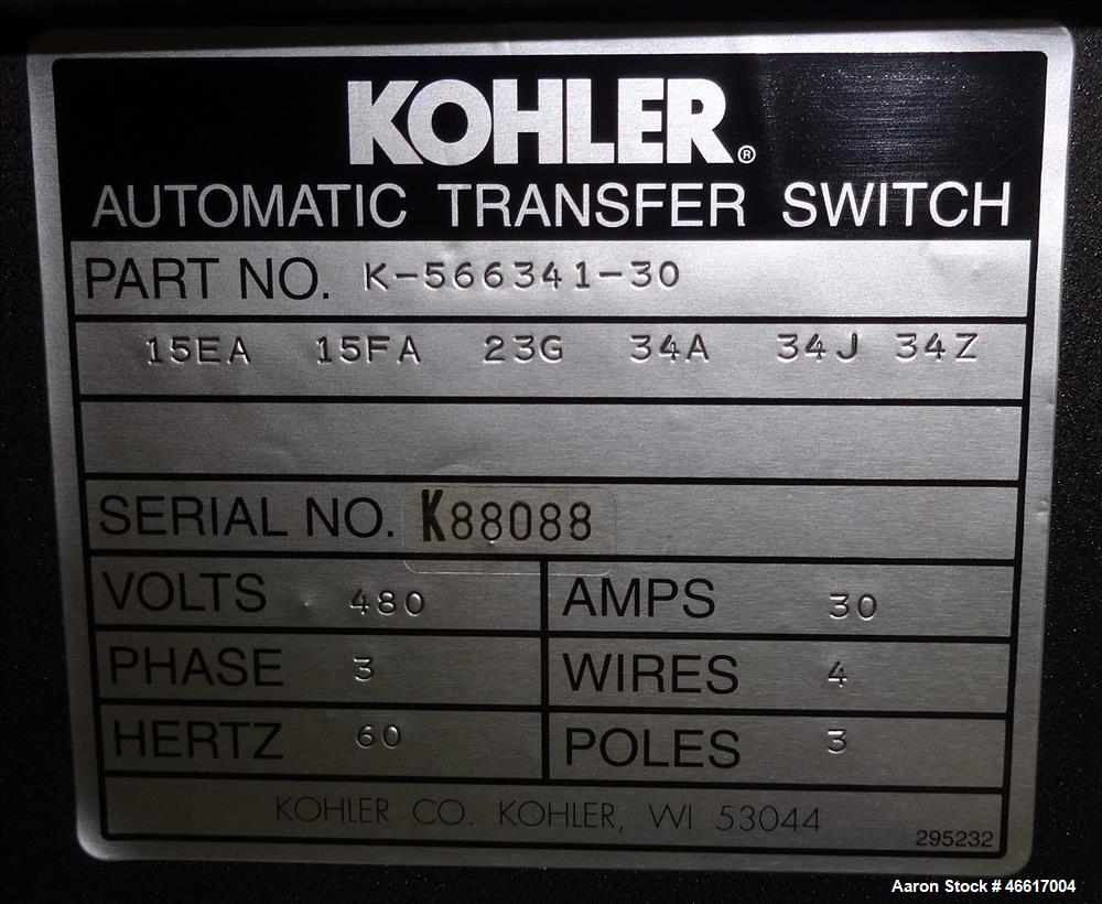 Used- Kohler Automatic Transfer Switch, Part# K-566341-30, 30 Amp. 3/60/480 Volt. Serial# K88088.