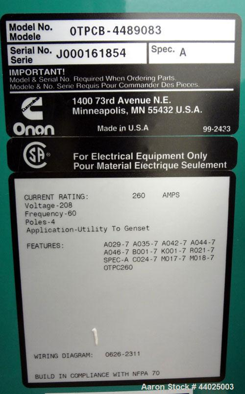 Used- Cummins / Onan Power Command Automatic Transfer Switch, 260 Amp, Model OTPCB-4489083, Serial #J000161854. 4 Pole, 3/60...