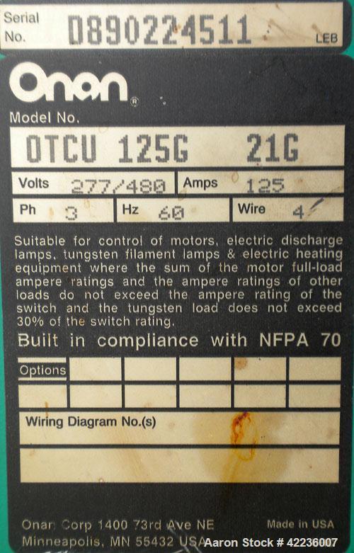 Used- Onan Transfer Switch, 125 amp, 3/60/440/480V, model OTCU125G21G, serial #D890224511.