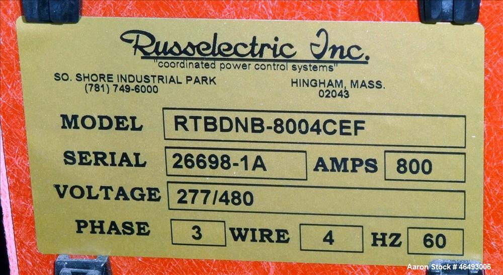 Used- Russelectric Dual Operator Automatic Transfer Switch, Model RTBD-8004CEF. 800 Amp. Russelectric Model 2000 control sys...