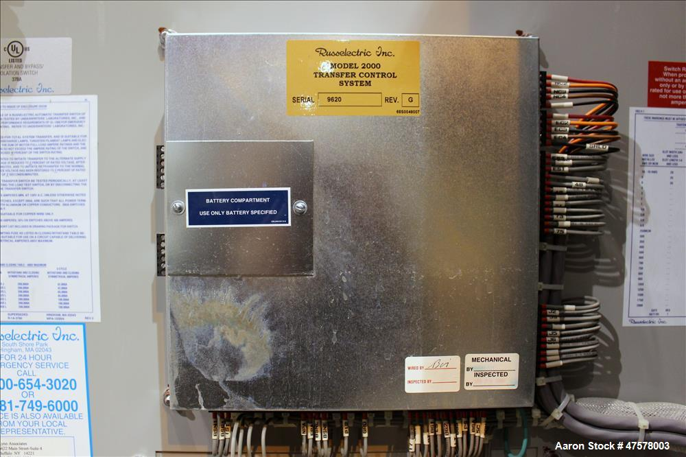 Used- Russelectric 800 Amp Automatic Transfer Switch, Model RTBDNB-8003CEF. 3/60/277/480 Volts. Serial# 28611-1A.