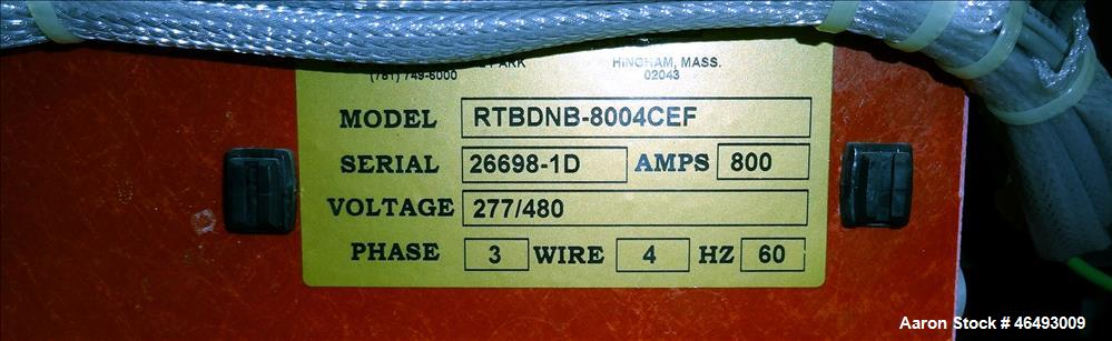 Used- Russelectric Dual Operator Automatic Transfer Switch, Model RTBDNB-8004CEF. 800 Amp. Russelectric Model 2000 control s...