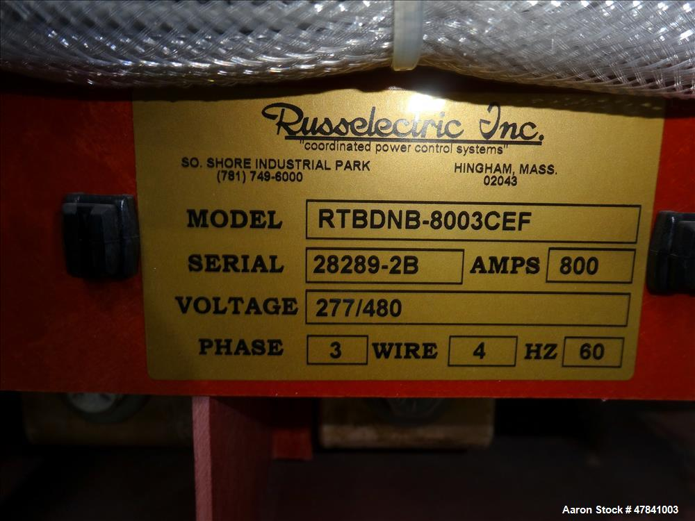 Used- Russelectric Dual Operator Automatic Transfer Switch, Model RTBDNB-8003CEF. 800 Amp. Russelectric Model 2000 control s...