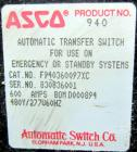 Used- Asco Automatic Transfer Switch. 600 Amps, 480 volt, 60 hz.