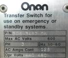 Used- Onan Transfer Switch, 125 amp, 3/60/440/480V, model OTCU125G21G, serial #D890224511.