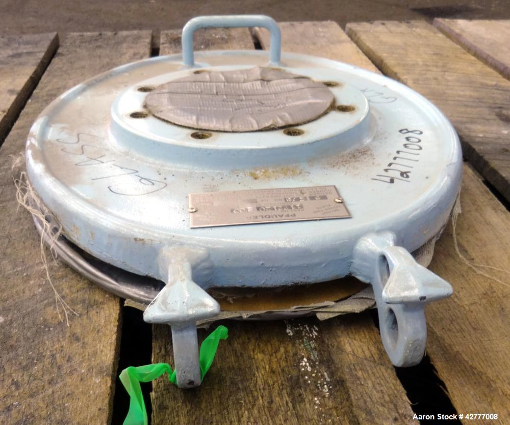 """Used- Pfaudler 14"""" x 18"""" Manway Cover. Rated 100 psi, provision for a sight glass."""
