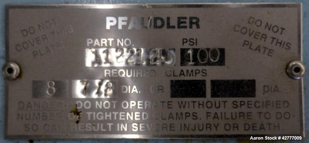 "Used- Pfaudler 14"" x 18"" Glass Lined Manyway Cover, Part# 1122120. Rated for 100 psi, provision for a sight glass."
