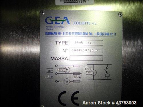 Used- Stainless Steel GEA Collette High Shear Mixer, Model Gral 75