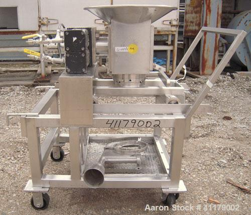 """Used- Oscillating Granulator, 316 Stainless Steel. 5"""" diameter, air operated rotor.  6 1/4"""" top inlet, 2 1/4"""" bottom outlet ..."""