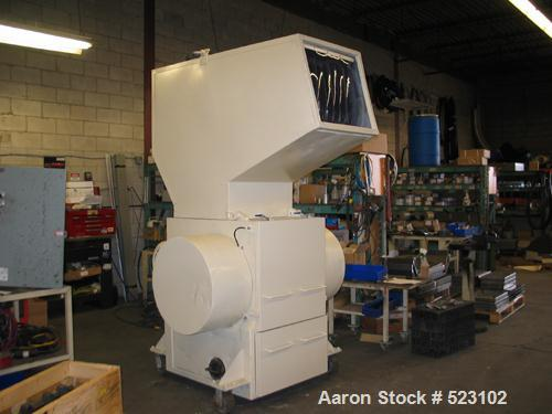"""USED: Rotogran granulator, model 2224. 50 hp, 22"""" x 24"""" cutting chamber, soft starter, blower. Reported to be reconditioned."""