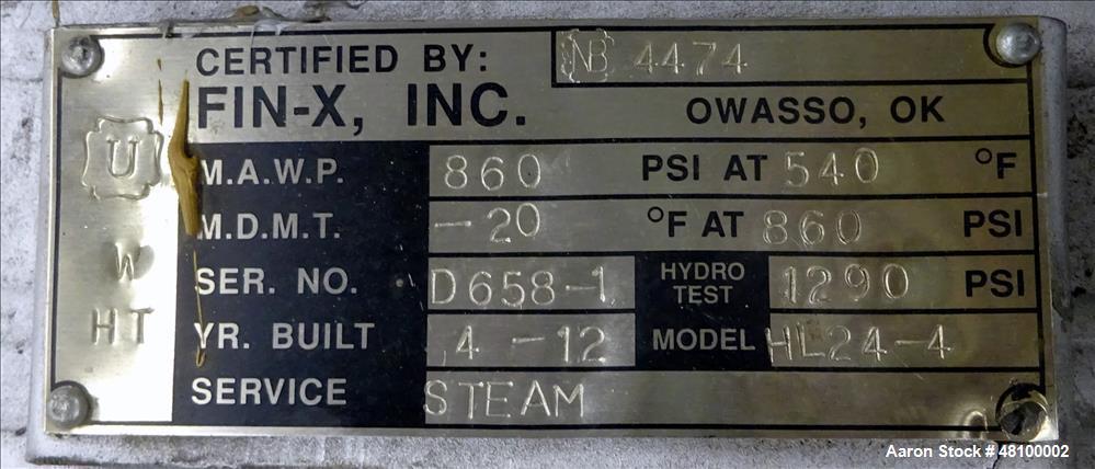 Used- Fin-X Inc, Fin Tube Exchanger, Model HL24.