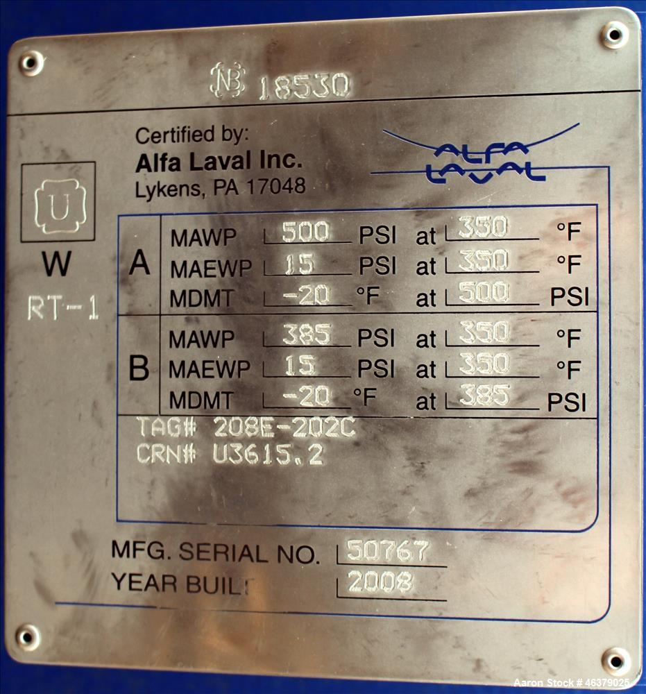 Used- Alfa Laval Compabloc Heat Exchanger, Model CPL75-V-500, 3,439 Square Feet