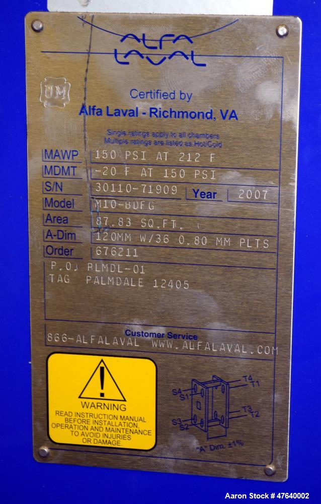 Unused- Alfa Laval Plate Exchanger, 87.83 Square Feet, Model M10-BDFG. (36) 120 mm thick 316 stainless steel plates. Designe...