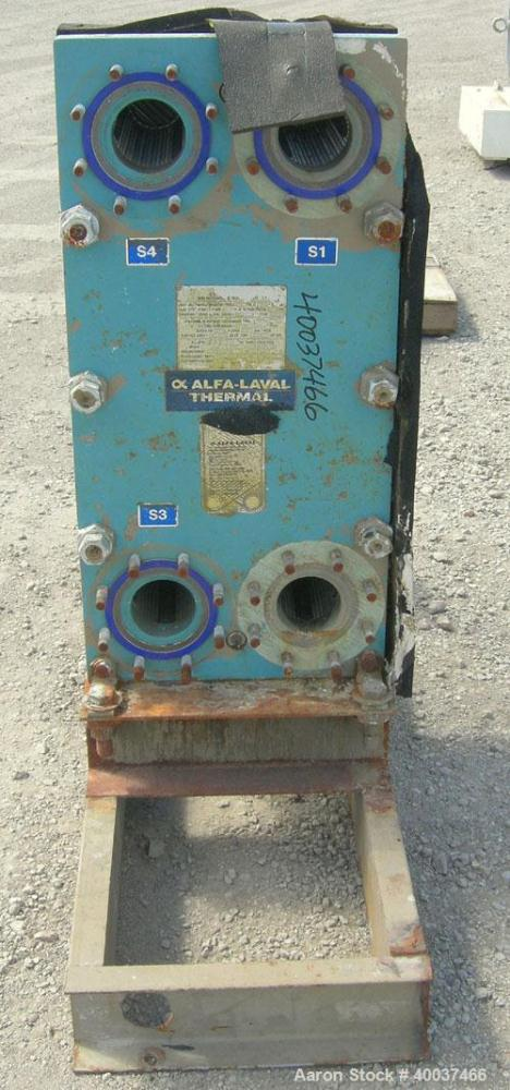 Used- Alfa Laval Plate Heat Exchanger, Model M10-BFG, 255 square feet, 304 stainless steel. (99) plates. Rated 150 psi at 23...
