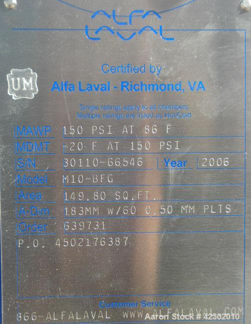 Unused- Alfa Laval Thermal Plate Exchanger, 149.80 Square Feet, Model M10-BFG. (60) 0.5 mm thick 316 stainless steel plates....