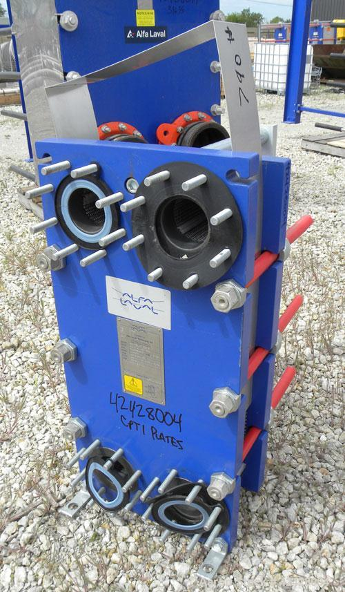Used- Alfa Laval Thermal Plate Exchanger, 116.3 Square Feet, Model M10-BFG. (47) Approximately 14-1/2 wide x 34-1/2 tall x 0...
