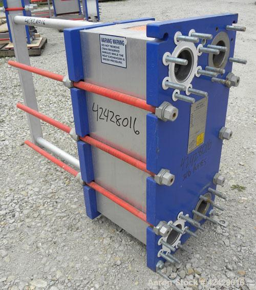 Used- Alfa Laval Thermal Plate Exchanger, 296.98 square feet, model M10-BFG. (117) Approximately 14-1/2'' wide x 34-1/2'' ta...