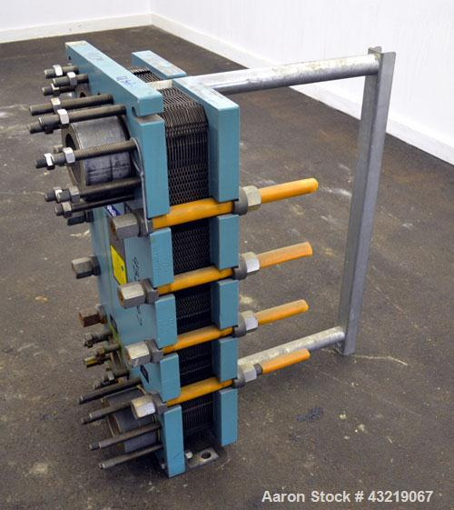 "Used- Alfa Laval Plate Exchanger, Approximate 84 Square Feet, Model M10-BWFD. (34) Approximately 14-3/4"" wide x 34"" tall Tit..."