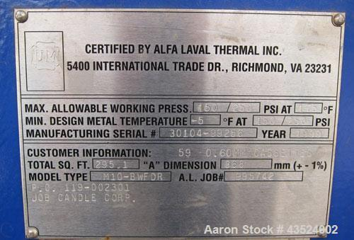 Used- Alfa Laval Thermal Plate Exchanger, 295.1 square feet, model M10-BWFDR. (59) Cassettes (118 total plates), approximate...