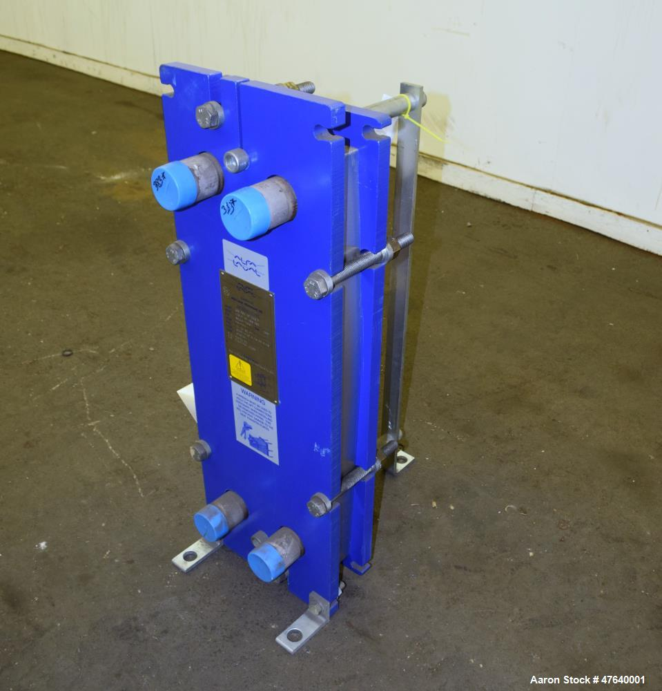 Unused- Alfa Laval Plate Exchanger, 24.11 Square Feet, Model M6-MDFG. (18) 0.75 mm thick 316 stainless steel plates. Designe...