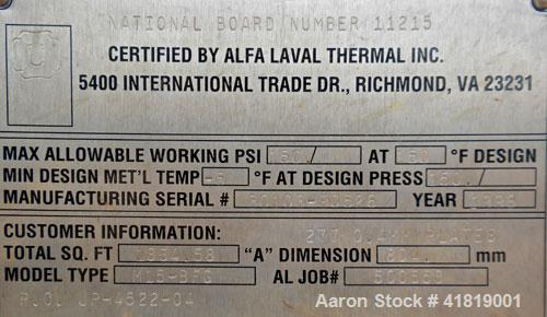 Used- Alfa Laval Thermal Plate Exchanger, 1834.58 square feet, model M15-BFG