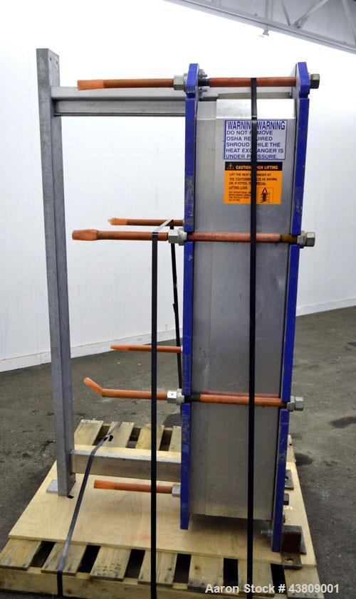 Used- Alfa Laval Thermal Plate Exchanger, 743.6 Square Feet, Model M15-BFML. (114) 0.40 mm Thick 304 stainless steel plates....