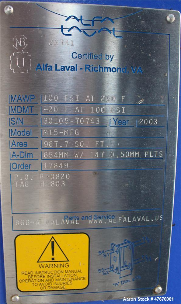 Used- Alfa Laval Thermal Plate Exchanger, 967.7 Square Feet, Model M15-MFG.