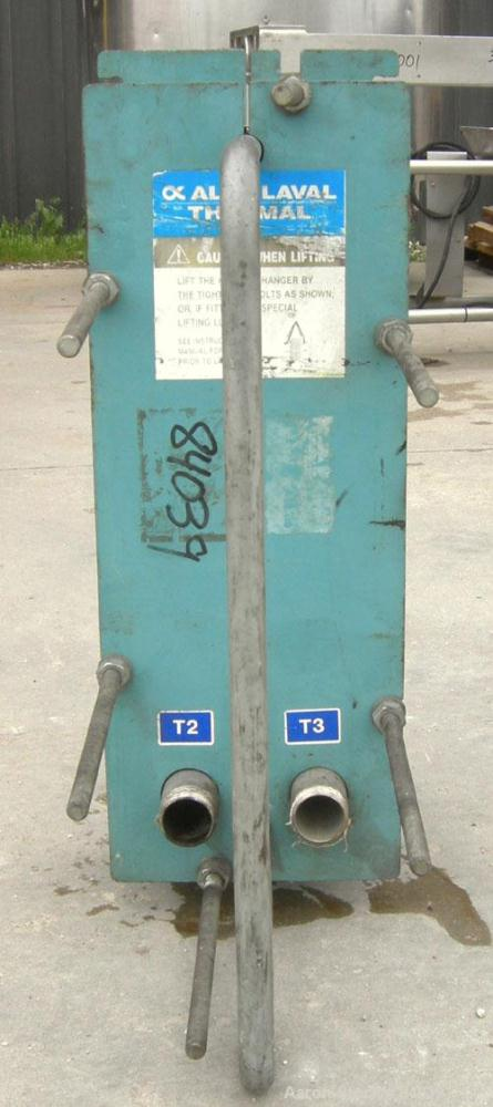 Used- Alfa Laval Plate Heat Exchanger, model M6-MDFG, 316 stainless steel, 48 square feet. Maximum flow rate 3.52 gallons pe...