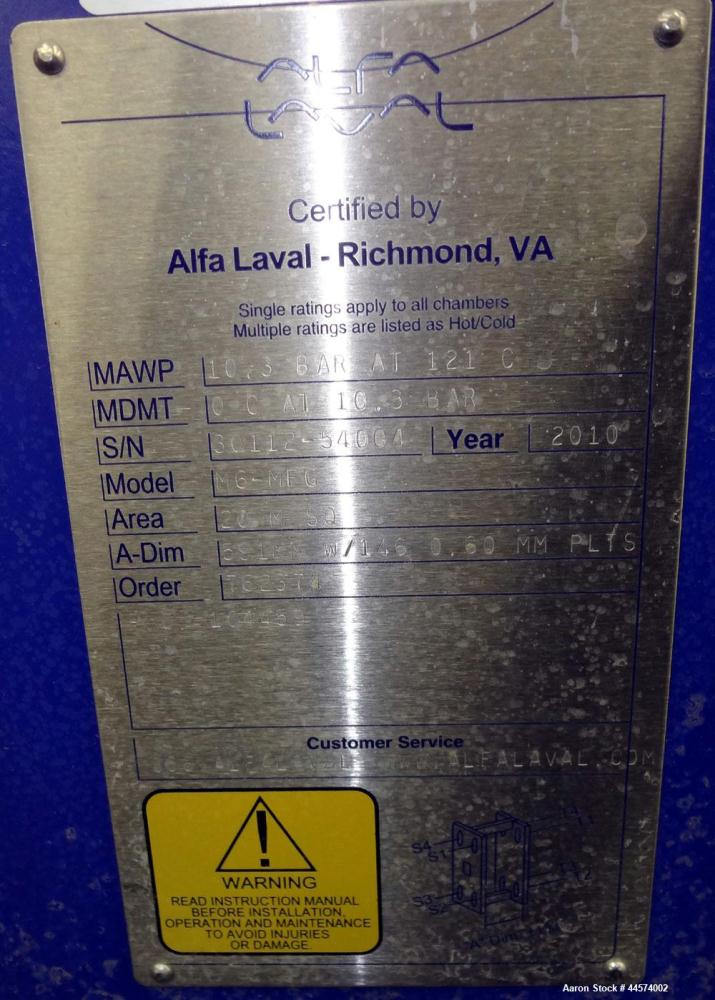 Used- Alfa Laval Plate Exchanger, 215 Square Feet, Model M6-MFG.  (146) 0.60 mm thick 316 stainless steel plates, approximat...