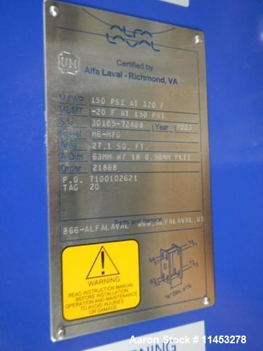Unused- Alfa Laval Plate Heat Exchanger, Model number M6MFG. Exchanger has (41) Stainless steel plates with 27 FT2 of heat s...