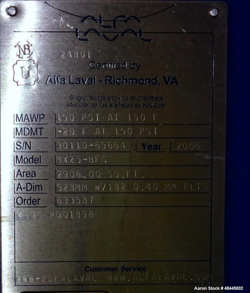 Used- Alfa Laval Plate Type Heat Exchanger, Model MX25-BFG, 2906 Square Feet, Ve
