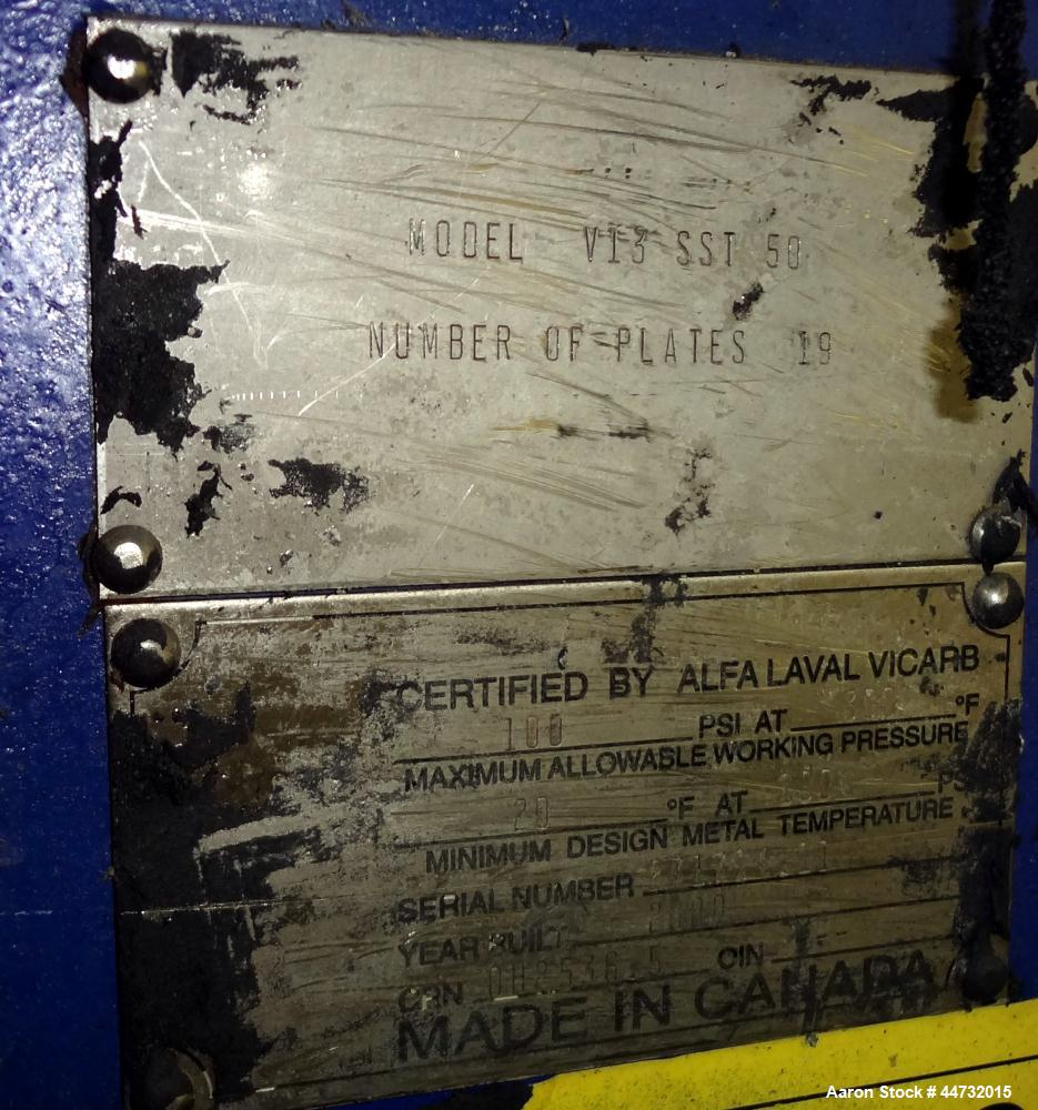 Used- Alfa Laval Vicarb Plate Exchanger, 40 Square Feet, Model V13-SST-50
