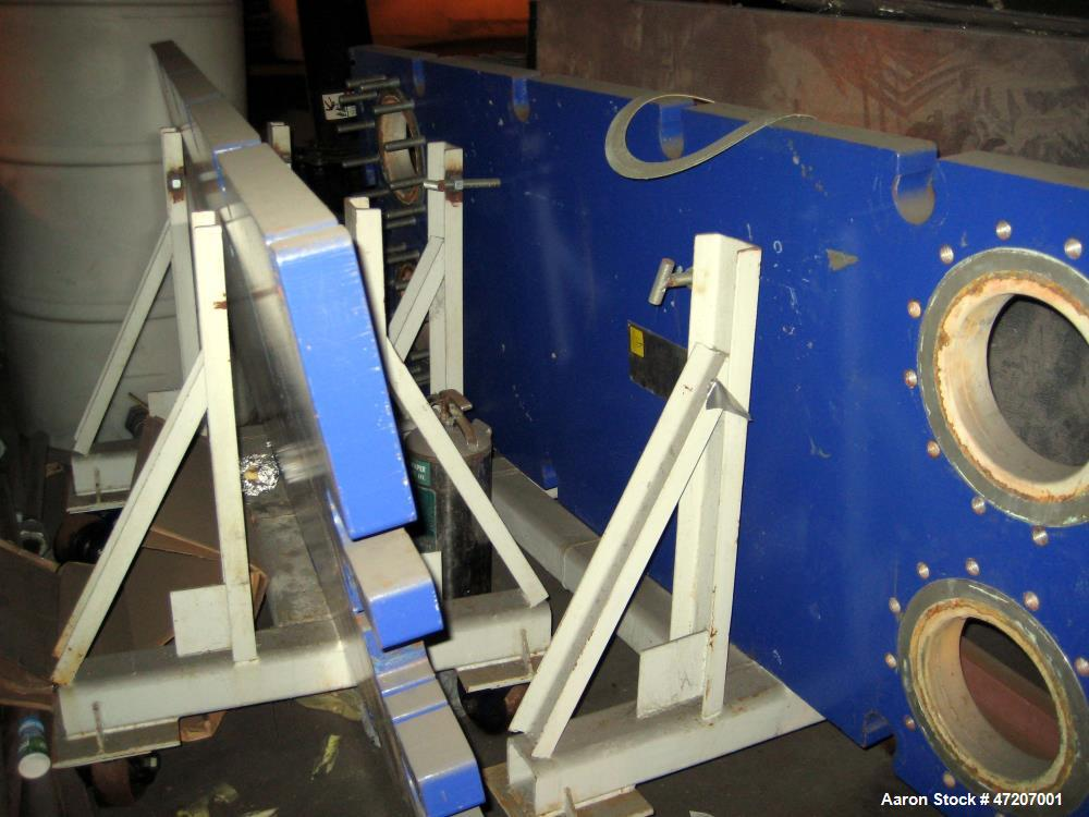 """Used- Alfa Laval Plate and Frame Heat Exchanger, Model AQ10-FG. 9,784,000 BTU/hr, 2,320 gpm, 150 psi at 150 degrees F. 133"""" ..."""