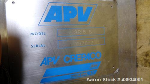 "Used- APV Crepaco Paraflow Plate Heat Exchanger, Model SR15-S, #2 Frame Size. Approximately 61 square feet. (55) 8-1/4"" wide..."