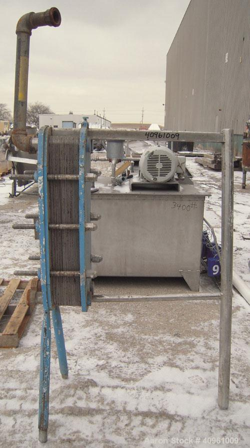 "Used- APV Plate Heat Exchanger, Type HXL(6), 317 stainless steel. Approximately 61 square feet. (31) approximate 8"" wide x 3..."